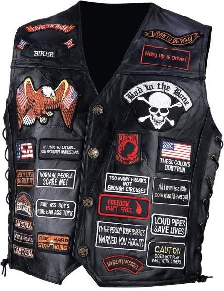 Mens Buffalo Leather Biker Vest w/42 Patches-3X