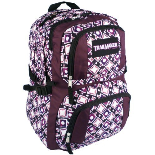 16.75 inch Purple Mod Stars Circles Squares TrailMaker Multiple Compartment Backpack High School Book Bag Knapsack Hiking Daypack