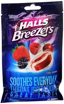Halls Breezers Drops Cool Berry - 25 ct, Pack of 2