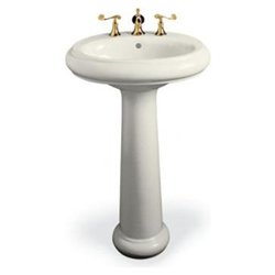 Revival Traditional Pedestal Bathroom Sink with Single Hole Faucet Drilling - Finish: Biscuit