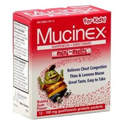 Mucinex Guaifenesin/Expectorant, Mini-Melts, 100 mg, Granule Packets, Bubble Gum Flavor, 12 ct.