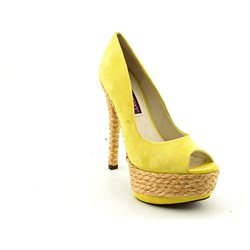 Mojo Moxy Tropicana Womens Yellow Peep Toe Suede Platforms Heels Shoes