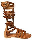Girls Fashion Kid's Knee High Flat Greek Roman Shoes Gladiator Thong Sandals (Svnah-9k, Tan-11)