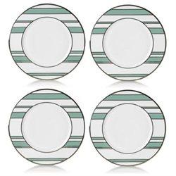 Mikasa 5066248 Turquoise-Platinum Stripes Set of 4 Accent Plates