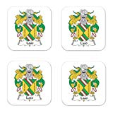 Laso Or Garcilaso Family Crest Square Coasters Coat of Arms Coasters - Set of 4