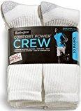 Burlington Comfort Power Mens 10 Pair White Crew Socks (White)