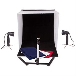 StudioPRO 20 Inch Photo Studio Portable Product Photography Light Tent w/ Camera Stand & Backgrounds