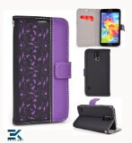 Wallet Flip Cover with Stand for the Samsung Galaxy S5 Case - BLACK & PURPLE. Bonus Ekatomi Screen Cleaner*