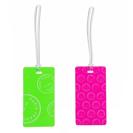 Green And Pink Luggage Tag Set - 2-piece