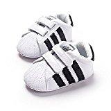 LiveBox Newborn Baby Boys' Premium Soft Sole Infant Prewalker Toddler Sneaker Shoes (M: 6~12 months, White)