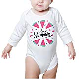 DSKFJAEI77E I Love Summer Watermelon Long-Sleeve Creeper Toddler Jumpsuit Personalized White