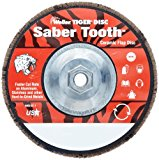 Weiler Saber Tooth Abrasive Flap Disc, Type 29, Threaded Hole, Phenolic Backing, Ceramic Aluminum Oxide, 7