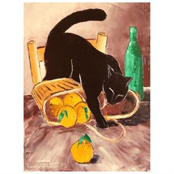 Return from market with black cat - Oversized 36 X 48