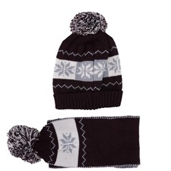 Children's Ribbed Knit Beret & Scarf Set, Snowflake Design