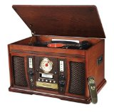 Innovative Technology ITVS-750 Nostalgic Aviator 6-in-1 Turntable Wooden Entertainment Center, Mahogany