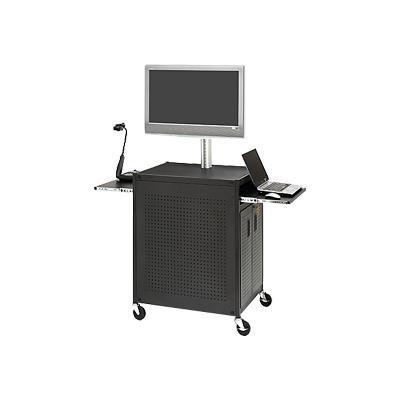 Basics Welded Cabinet Presentation Cart With 19 Rack Mount TC15FCSAFF-BK - cart