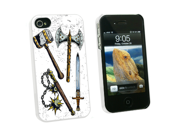 Fantasy Medieval Weapons - Axe Sword Mace War Hammer - Snap On Hard Protective Case For Apple Iphone 4 4s - White