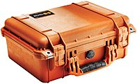 Pelican 1450-000-150 1450 Medium Shipping Case With Foam For Camera - 3.89 Gal - Double Throw Latch Closure - Orange - For Multipurpose