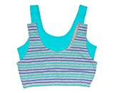 trimfit Big Girls' Crop Top with Built Up Straps (Pack of 2), Aqua/Grey Mix Stripes, X-Large