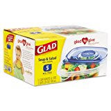 Glad GladWare Soup and Salad Food Container w/Lid, 24 oz., Plastic, Clear, 30/Carton
