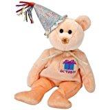 Ty Beanie Baby October Teddy Happy Birthday Bear w Hat