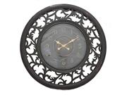 Antique-style Vine Leaf Pattern Wooden Wall Clock With Leaf Emblem