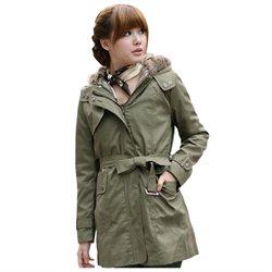 STORE1980 Women Thicken Fleece Faux Fur Warm Winter Coat WWD005
