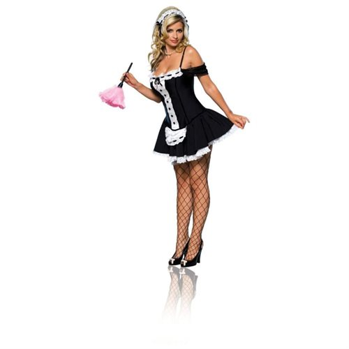 Rubie's Costume Co Secret Wishes Sexy Dust Bunny Maid Costume, Black, Small