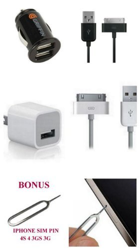 NEW iPad 3 !!! 2.1A 4myphones® Griffin Powerjolt DUAL IPAD3 2 /IPHONE Micro Auto Car Charger with Charge Sync Cable for (Verizon Sprint ATT) iPhone 4S 4   Apple A1265 USB Power Adapter (OEM) Charger Cube (MB352LL   MA591G) for Apple iPhone 4S , iPod, Touch 3GS 4 All in ECO-FRIENDLY PACKAGE