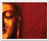 JP London POS2422 uStrip Peel and Stick Removable Wall Decal Sticker Mural Smiling Buddha Yoga Zen Monk Tibet, 24-Inch by 19.75-Inch