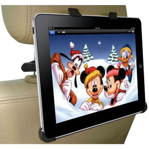 DBTech Headrest iPad 1 Car Mount - Fits all Cars - Great for Backseat Entertainment. Includes Bonus 3.5mm AUX Cable (6 ft.)
