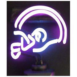 Purple/White Football Helmet Neon Sculpture