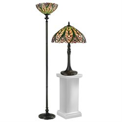 3-Piece Antique Bronze Cactus Bloom Hand Crafted Glass Tiffany-Style Table Lamp, Floor Lamp & Table