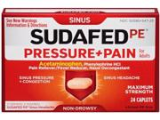Sudafed Pressure And Pain Caplets For Adults, 24 Count