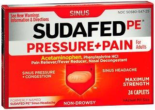 Sudafed PE Pressure   Pain Caplets - 24ct, Pack of 2