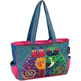 Laurel Burch Medium Tote Zipper Top, 15-Inch by 4-1/2-Inch by 10-Inch, Celestial Felines
