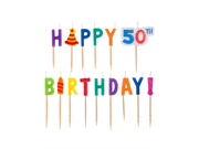 Dots And Stripes 50th Birthday Pick Candles