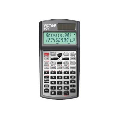 Victor Technology V34 V34 - Scientific Calculator - 10 Digits   2 Exponents - Solar Panel  Battery - Black  Silver