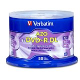 Verbatim DVD R DL AZO 8.5 GB 8x-10x Branded Double Layer Recordable Disc, 50 Disc  97000
