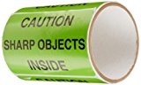 "TapeCase ""Caution, Sharp Objects Inside"" Label - 50 per pack (1 Pack)"