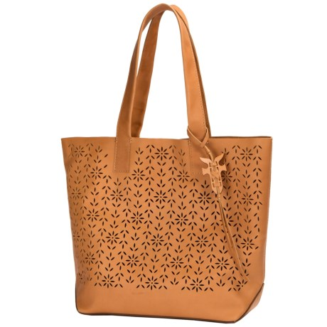 Carson Floral Perforated Tote Bag - Leather (for Women)