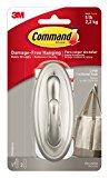 Command Traditional Plastic Hook, Large, Brushed Nickel, 1-Hook (17053BN-ES)