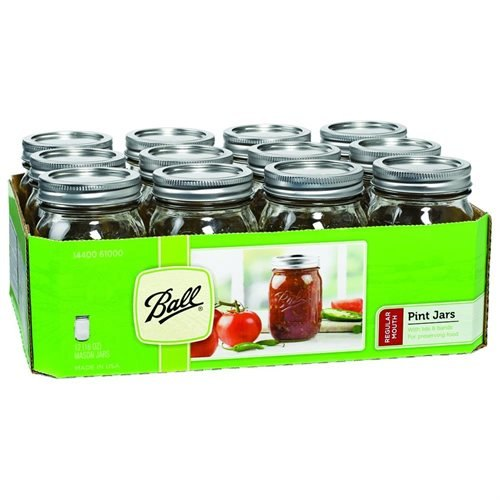 Jarden Home Brands 61000 Regular Mason Canning Jar, Pint - Case of 12