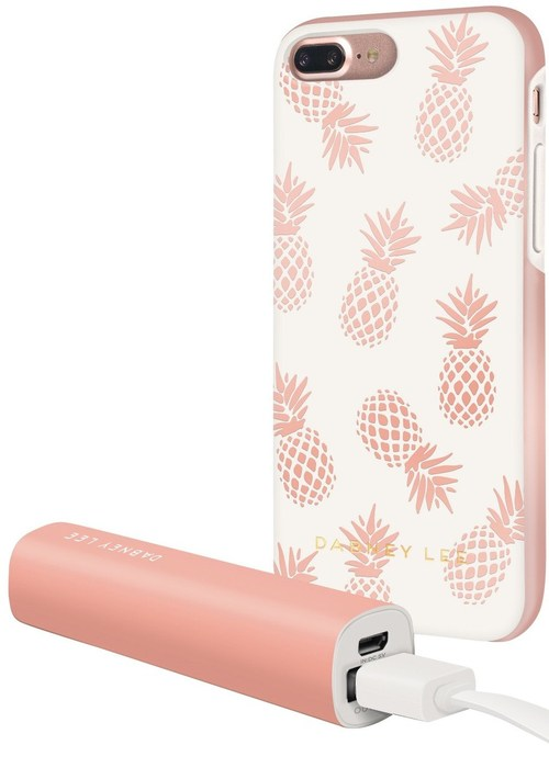 Dabney Lee Ic7089pag-wh8 Hard Case For Iphone 6 Plus, Iphone 7 Plus - White, Rose Gold Pineapple
