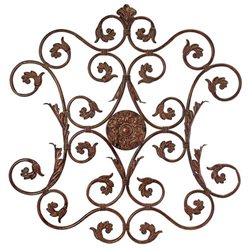 36 Ornate Italian Style Iron Scrollwork Decorative Hanging Wall Plaque