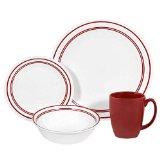 Corelle Livingware 16-Piece Dinnerware Set, Service for 4, Classic Cafe Red