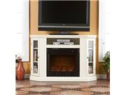 Claremont Convertible Electric Fireplace Media Console - Ivory - by Southern Enterprises