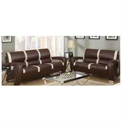 2-Piece Sofa Set in Brown/Ivory Bonded Leather by Poundex