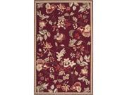 2.5' x 4' Raspberry Blossom Rust Red & Sage Green Wool Area Throw Rug