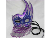 Purple, Silver with Beads and Glitter Party Mask - Venetian